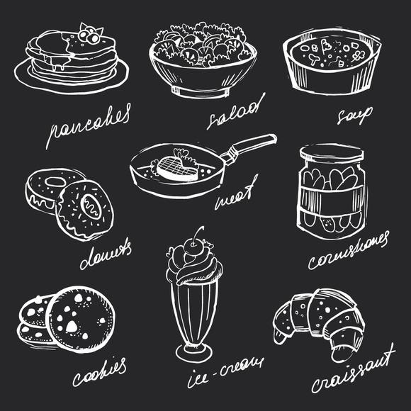 Menu Food Hand-drawn Chalk