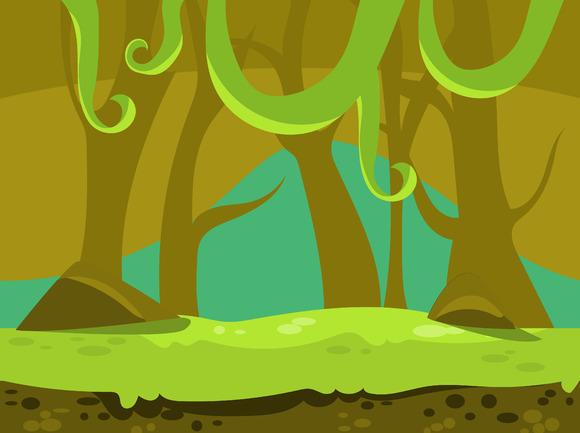 Cartoon Nature Landscape Background