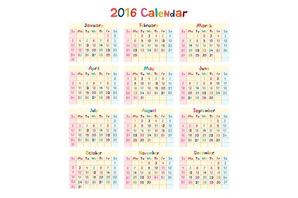 2016 Calendar Vector Kids Hand Made