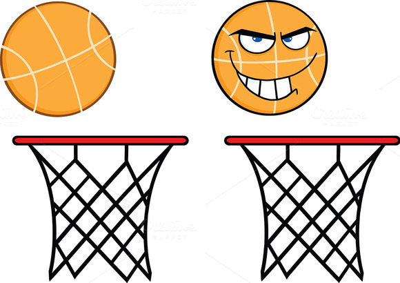 Basketball On Rim. Collection Set - Illustrations