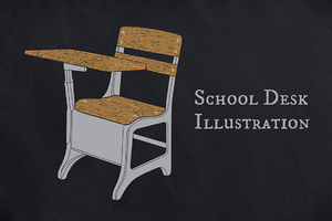 School Desk Illustration