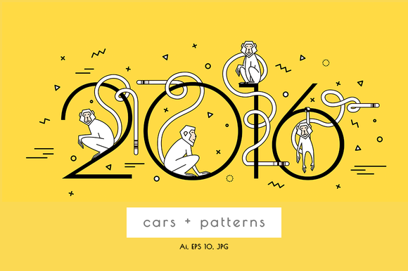 New Year Set With Monkeys.2016