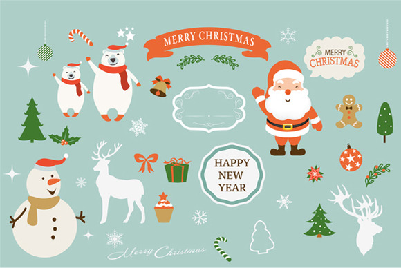 Christmas New Year Clipart Set