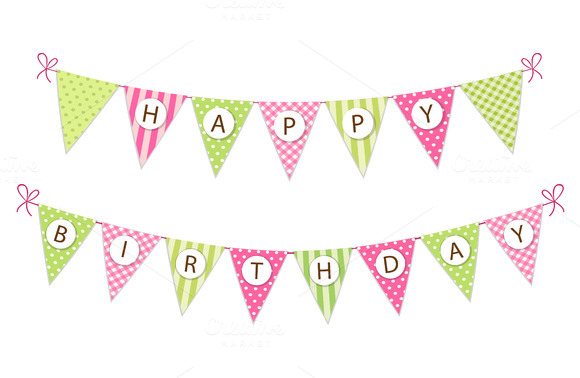 cute happy birthday bunting flags graphics on creative market