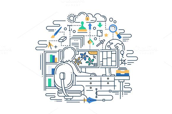 Designer Workplace Line Illustration