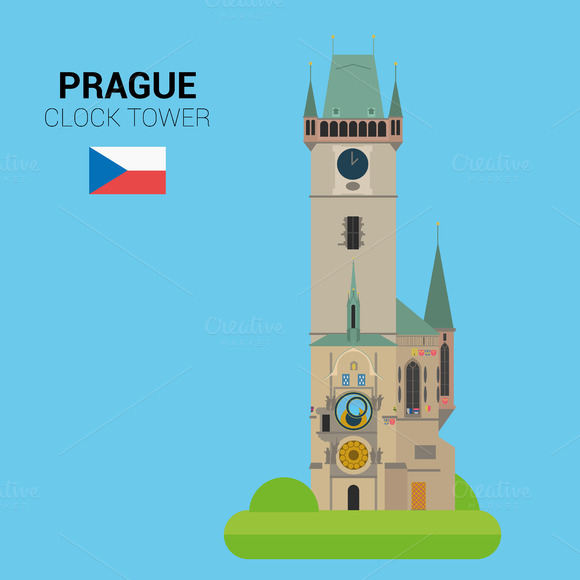 Clock Tower, Prague. Vector - Illustrations