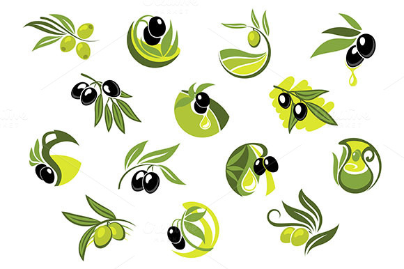 Olive Branches With Glossy Olives