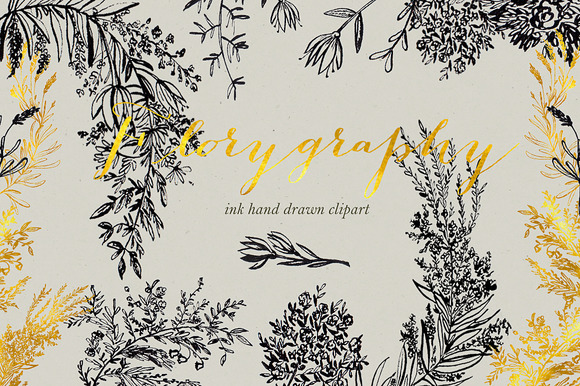 Florygraphy. Calligraphy ink clipart - Illustrations