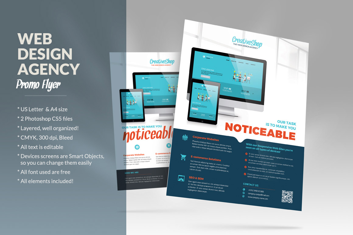 Web design agency flyer flyer templates on creative market for Product design agency