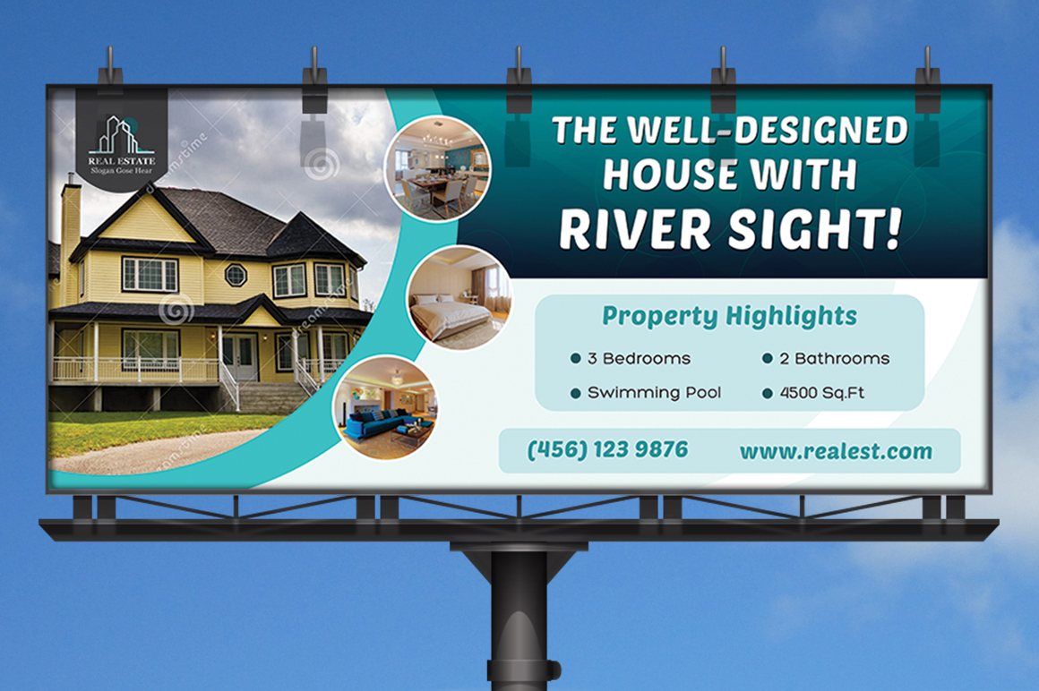 real estate business billboard templates on creative market