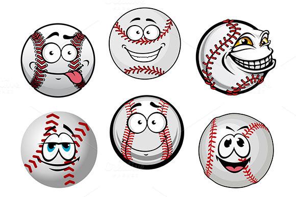 Smiling Baseball Balls Cartoon Chara