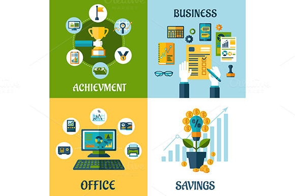 Flat Business Office And Success
