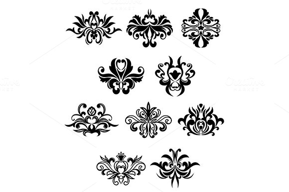 Damask Flourish Black Design Element