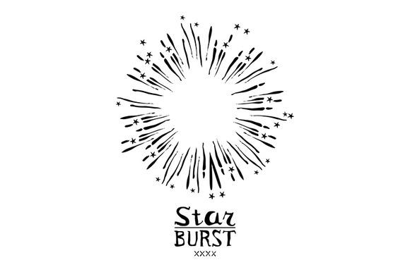 Vector Monochrome Starburst Ray Logo