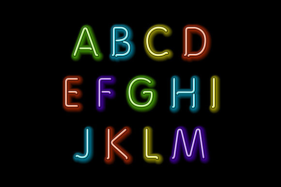 Neon glow alphabet. Vector design - Graphics