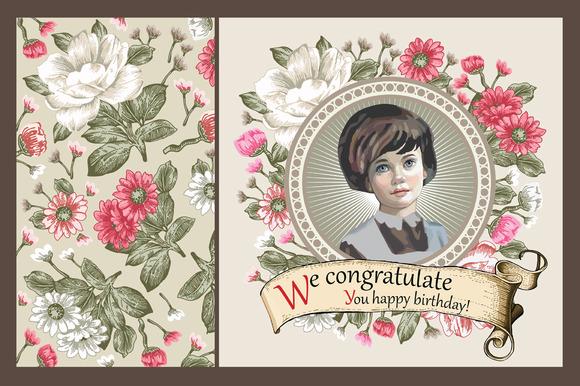 Set. Girl. Flowers. Greeting card. - Illustrations
