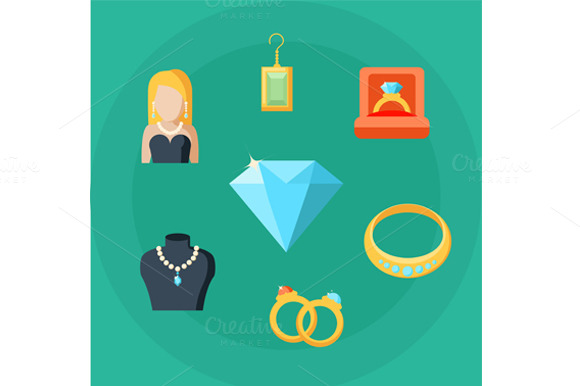 Jewelry Concept Icons Set