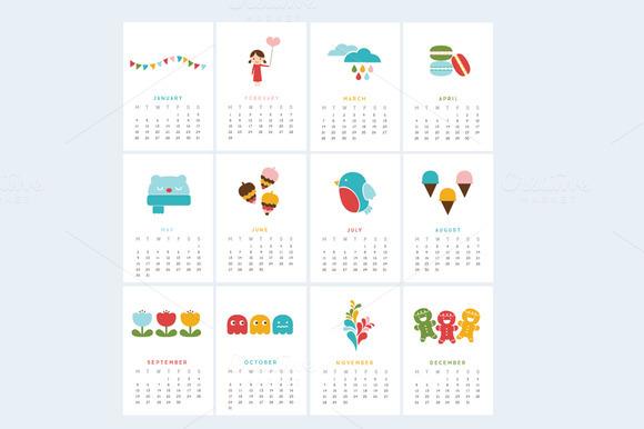 Printable Mini Calendar 2016 - Bold ~ Stationery Templates on Creative ...