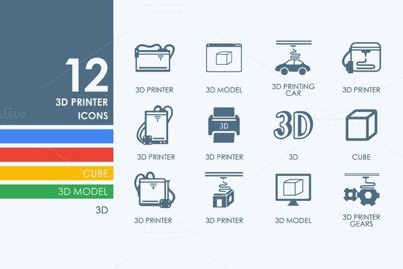12 3D Printer Icons