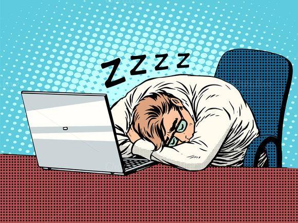 Businessman Working Laptop Sleep