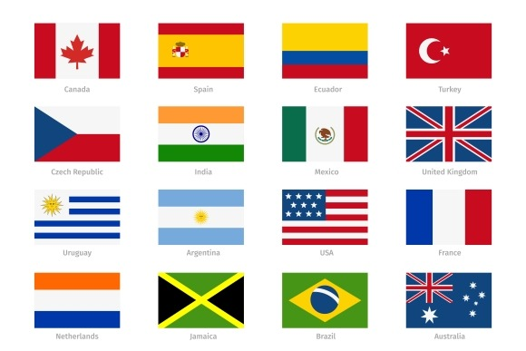 Vector World Flags In Flat Style