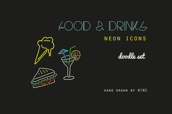 Food & Drink. Neon icons + Six cards - Illustrations