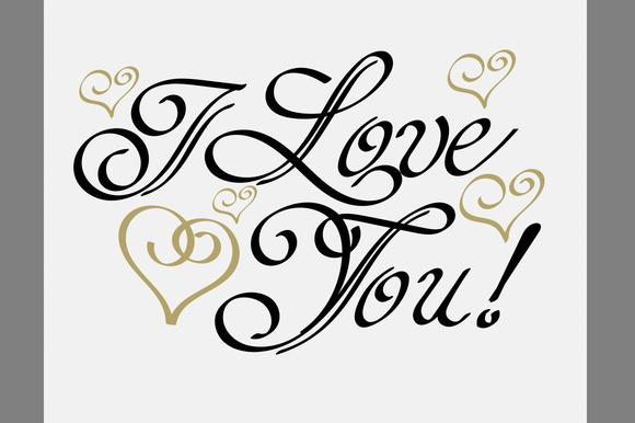 I love you lettering design vector script fonts on