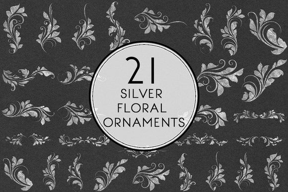 Silver Floral Ornaments