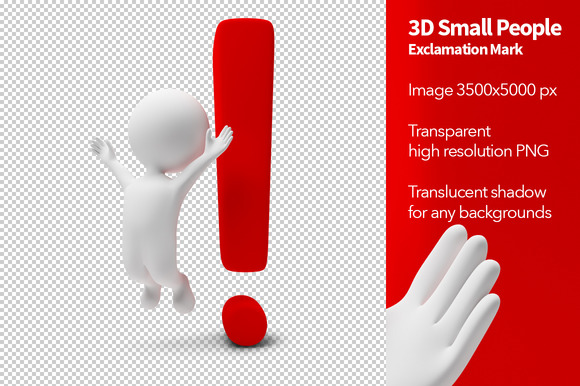 3D Small People Exclamation Mark