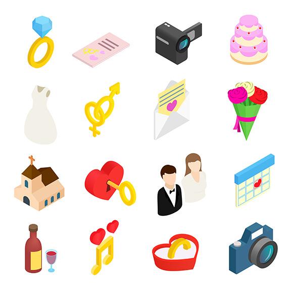 Wedding Isometric 3D Icons Set