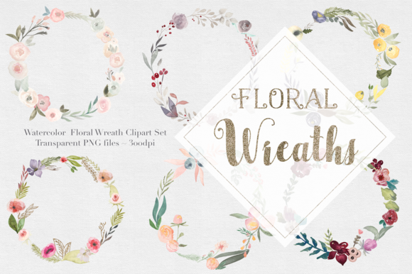 Watercolor Floral Wreaths Vol.1 - Illustrations