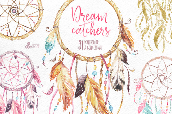Dreamcatchers. Watercolor collection - Illustrations