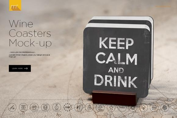 Wine Coasters Mock-up - CM 486346