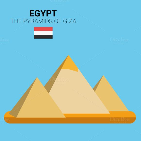The Pyramids Of Giza Egypt Vector
