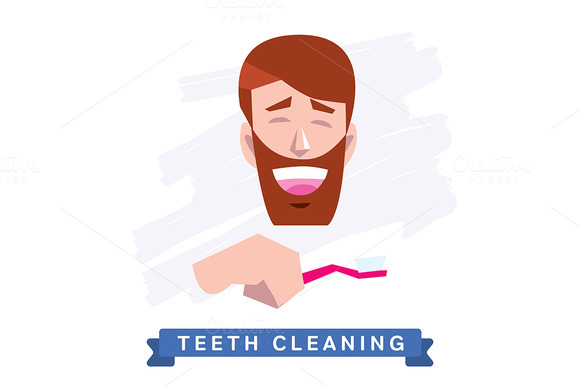Cleaning teeth. Beautiful smile. - Illustrations