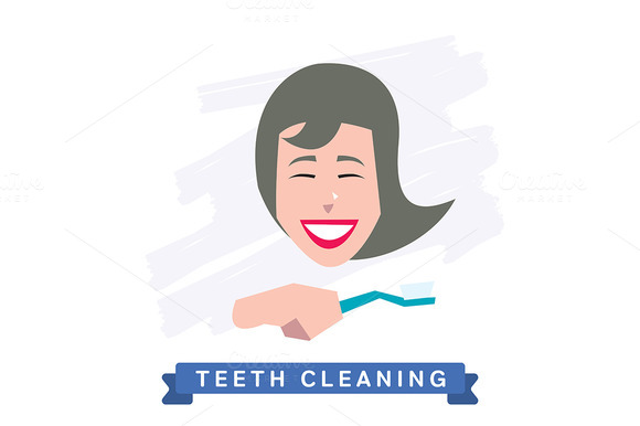 Cleaning teeth. Beautiful smile. - Illustrations
