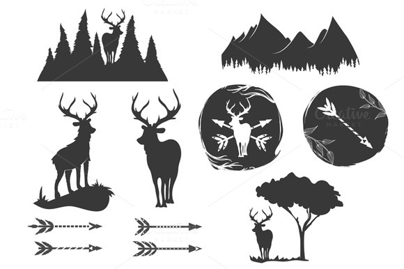 Monochrome Deer And Mountains Set