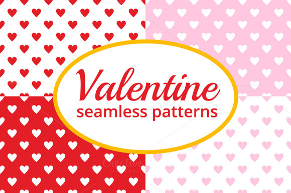 Seamless Valentines Hearts Patterns