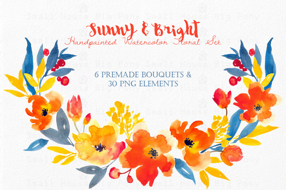 Sunny Bright- Watercolor Floral Se