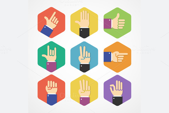 Flat Hands Icons Set. Vector - Icons
