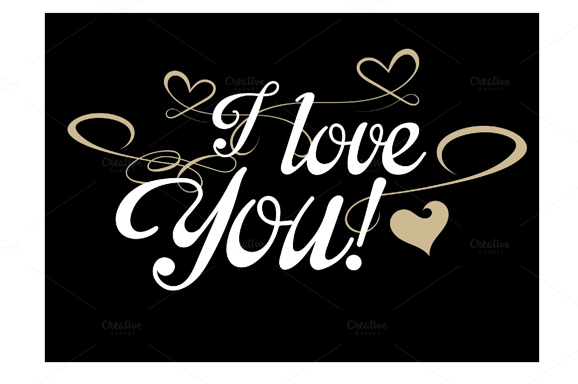 i love you lettering design script fonts on creative market