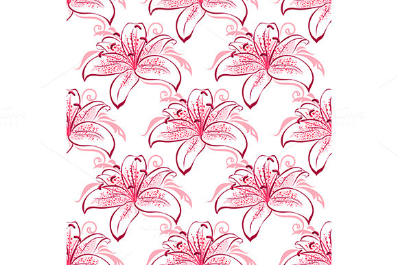 Pink And Purple Lilies Seamless Patt