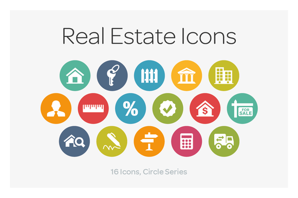 Real Estate Icon : Circle icons real estate on creative market