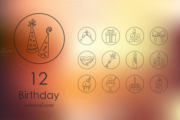 12 Birthday Line Icons