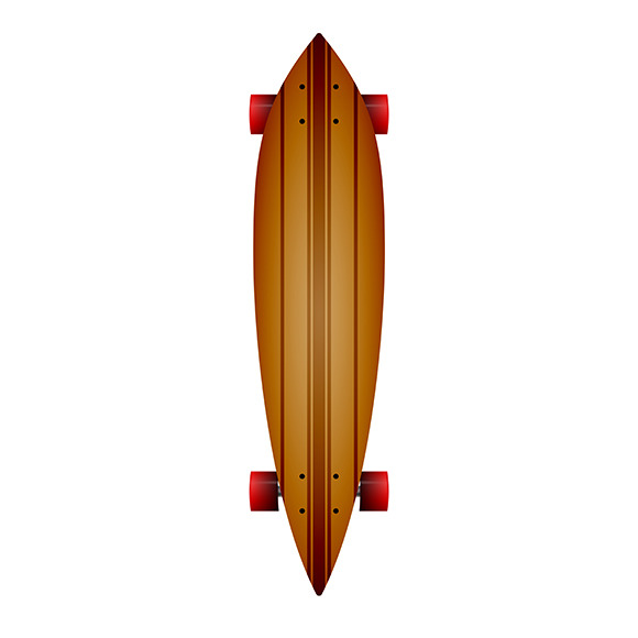 Wooden Longboard Vector Illustration