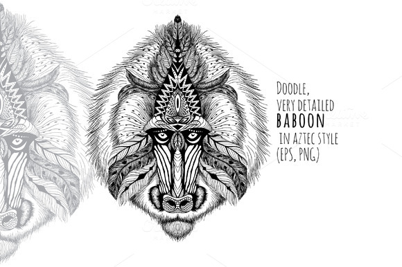 Textured Baboon In Aztec Style