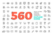 560 Modern Line icons Pack-Graphicriver中文最全的素材分享平台