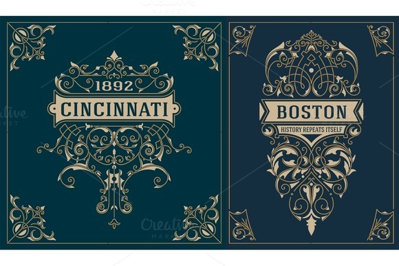 Vintage cards. vector template. - Illustrations