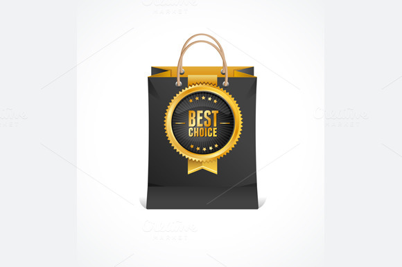Paper Bag and Gold Label. Vector - Illustrations