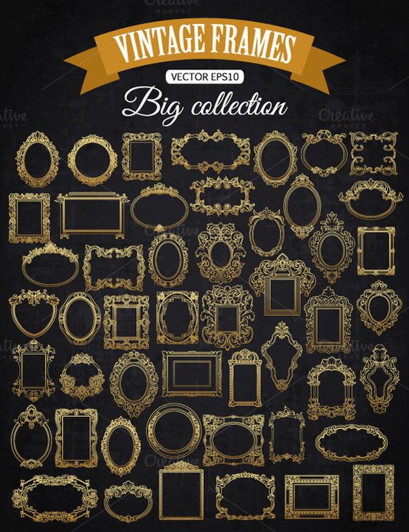 Decorative Vector Gold Frame Set